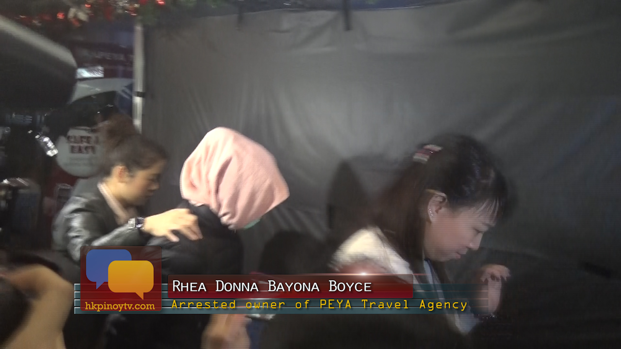 The owner of PEYA Travel is now arrested by the Hong Kong police. [Image Credit: HK Pinoy TV]