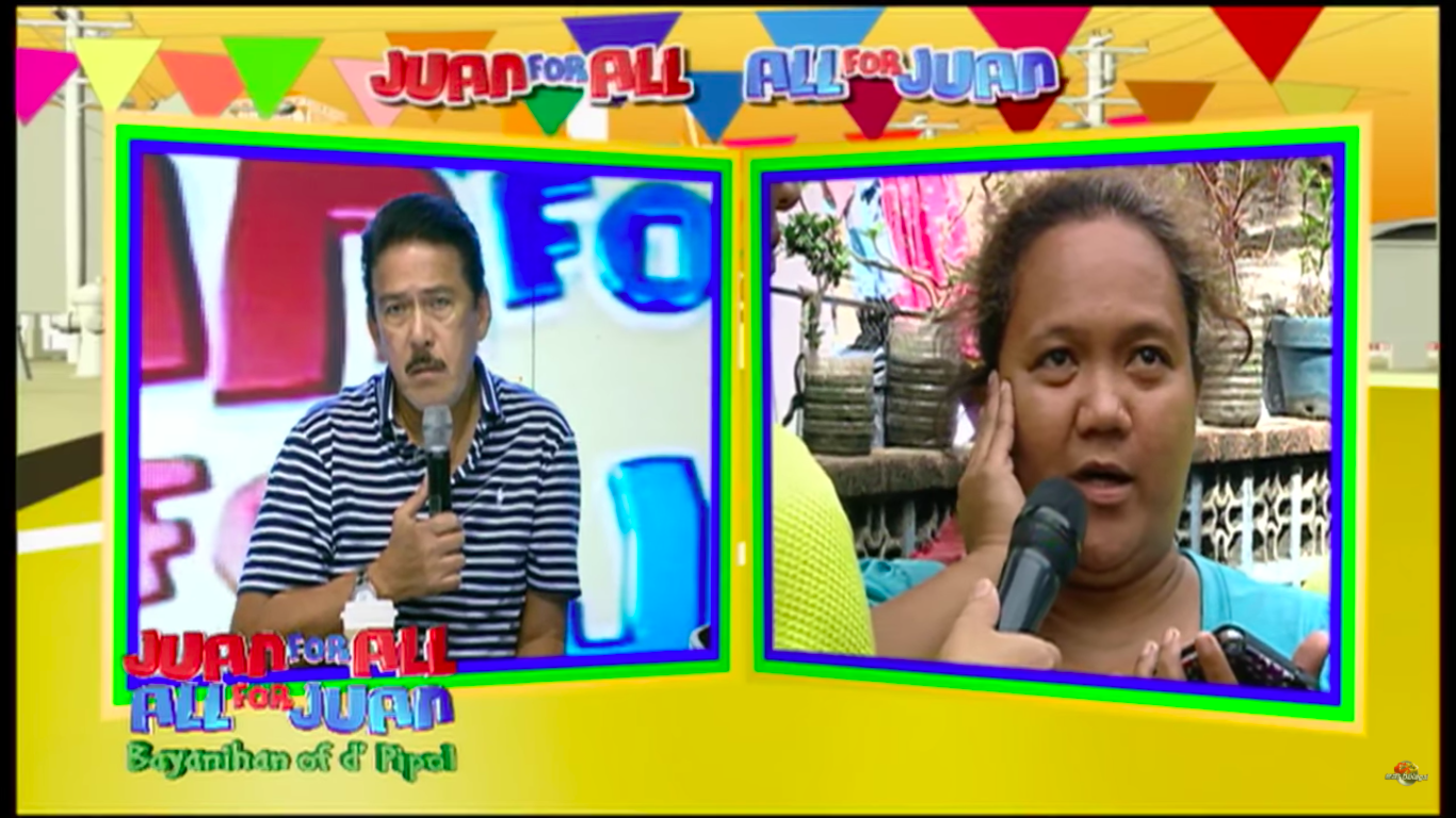 Fomer OFW Cindy Tabucol got her chance on luck during the Juan For All, All for Juan segment of Eat Bulaga. [Image Credit: Eat Bulaga/Youtube]
