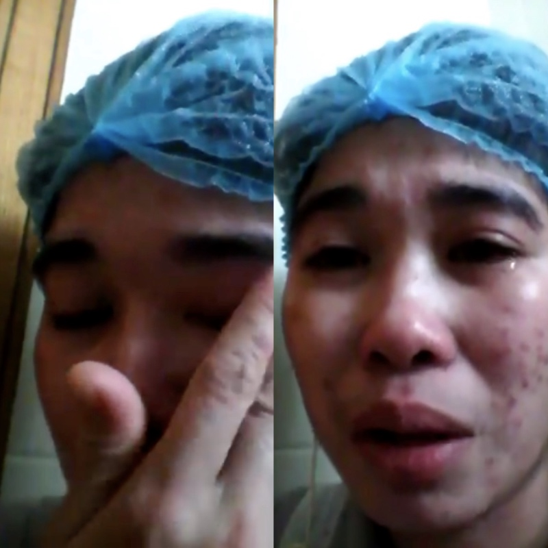 A domestic helper was refused help from her agency. [Image Credit: Vyncel Joy Ombid Caro/Facebook]