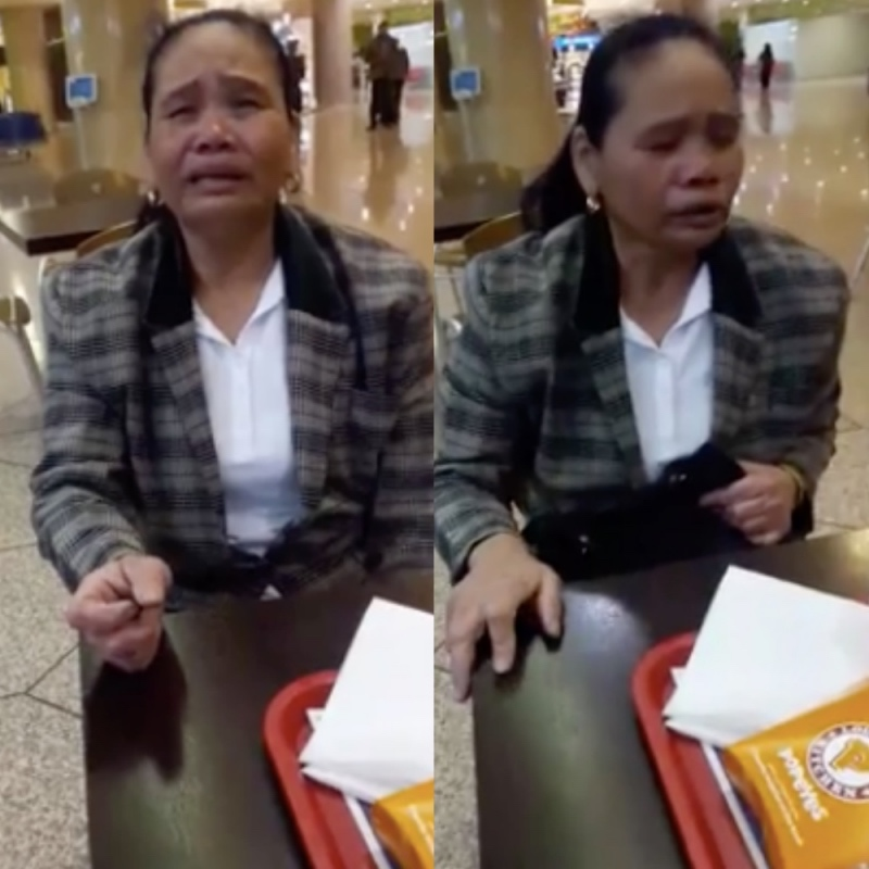 An OFW from the Middle East was crying non-stop at the airport because of her stolen money. [Image Credit: Aqoh C Dadong/Facebook]