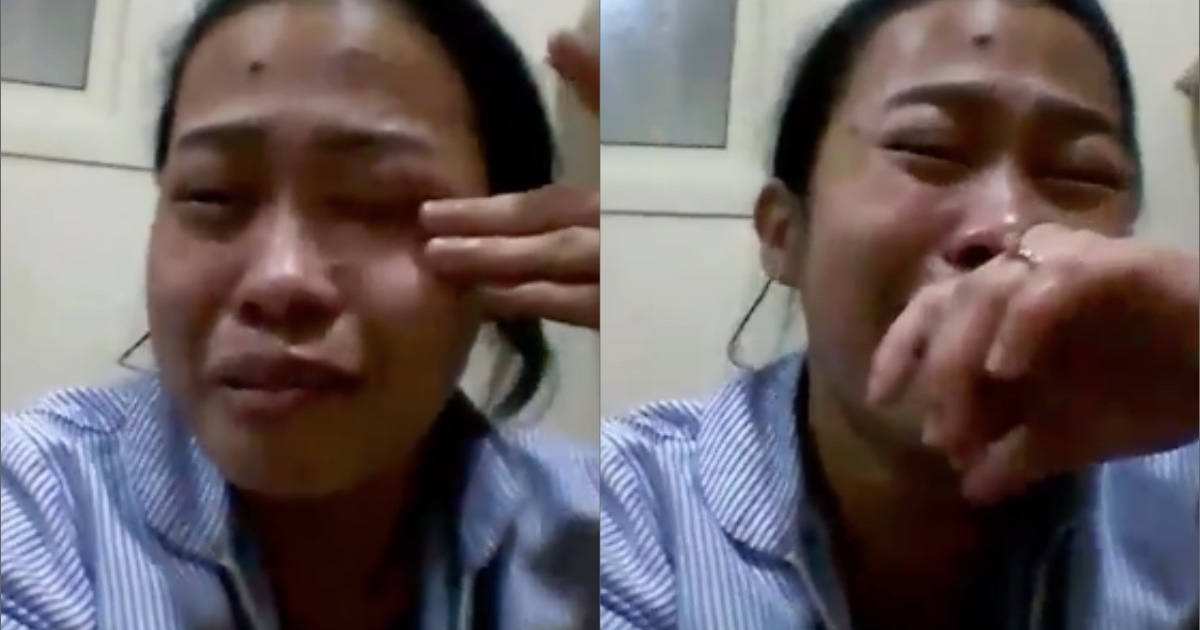 A domestic helper reveals that she will take her own life if she will not come back to the country. [Image Credit: OFW CCTV / Facebook]