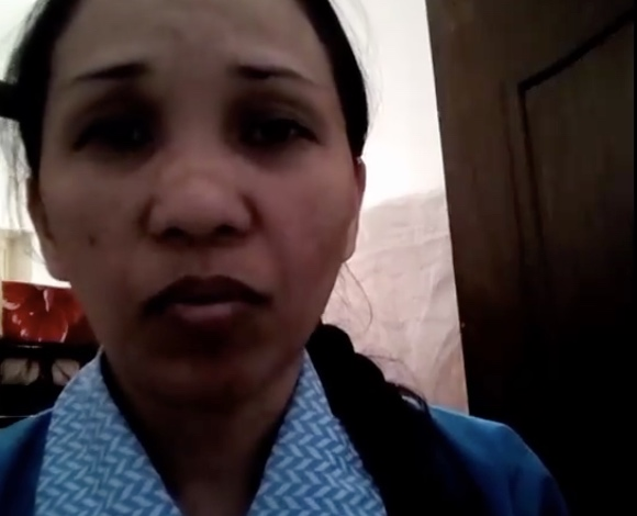A domestic helper in Kuwait is asking to be rescued. [Image Credit: OFW CCTV / Facebook]
