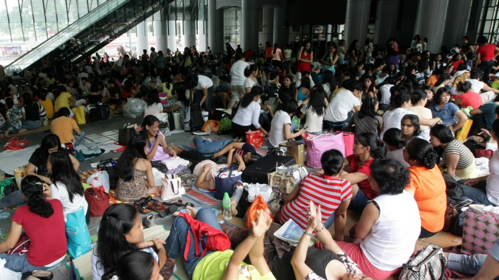 Filipino domestic helpers on day off.